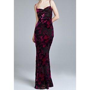 cdc52888410 Floral Velvet Burnout Formal Dress